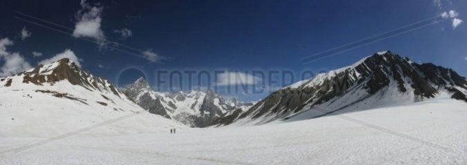 Italy  Aosta Valley  background Mont Blanc
