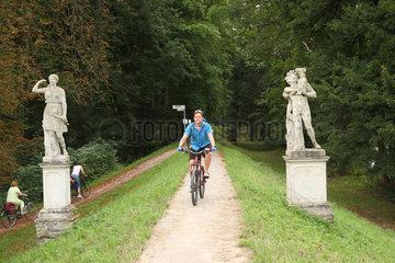 Dessau  Deutschland  Fahrradfahrer auf dem Fuerst-Franz-Radweg