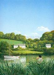 England Flusslandschaft Liebespaar