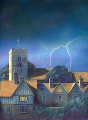 England Kirchturm Blitz