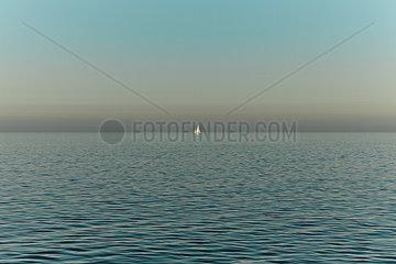 Segelboot in der Abenddaemmerung