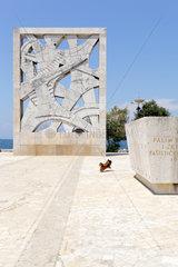 Rovinj  Kroatien  ein Hund springt auf dem Platz des Kriegerdenkmals herum