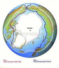 Karte Nordpol Routen von Amundsen und Nordenskj?ld