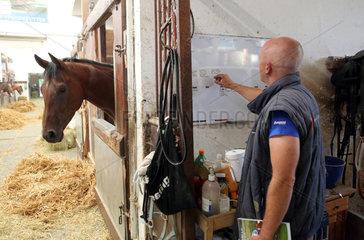 Muenchen  Deutschland  Rennpferdetrainer Michael Figge teilt die Pferde fuer das Morgentraining an einer Tafel ein