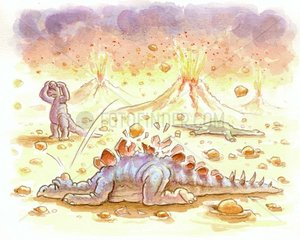 Sauriersterben wegen Vulkanausbruechen