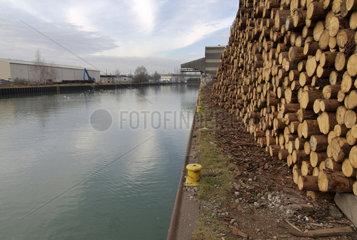 Holzlager im Dortmunder Hafen