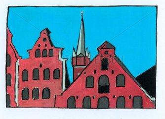 Luebeck Dachgiebel Kirchturm