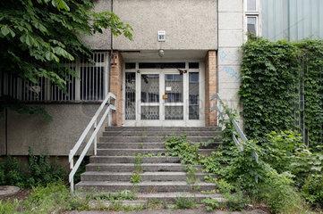 Berlin  Deutschland  zugewachsener Eingang zu einem Geschaeftsgebaeude