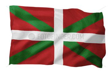 Fahne des Baskenlandes (Spanien; Motiv A; mit natuerlichem Faltenwurf und realistischer Stoffstruktur)