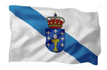 Fahne von Galicien (Spanien; Motiv A; mit natuerlichem Faltenwurf und realistischer Stoffstruktur)