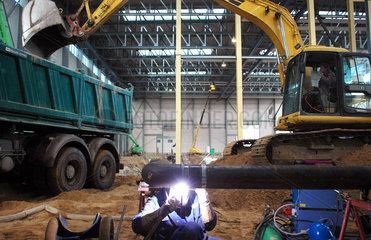 Bau einer Fabrikationshalle