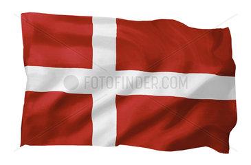 Fahne von Daenemark (Motiv A; mit natuerlichem Faltenwurf und realistischer Stoffstruktur)