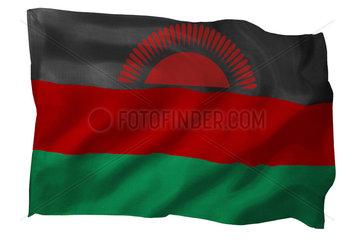 Fahne von Malawi (Motiv B; mit natuerlichem Faltenwurf und realistischer Stoffstruktur)