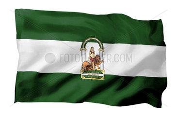 Fahne von Andalusien (Spanien; Motiv A; mit natuerlichem Faltenwurf und realistischer Stoffstruktur)