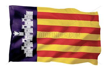 Fahne von Mallorca (Spanien; Motiv A; mit natuerlichem Faltenwurf und realistischer Stoffstruktur)