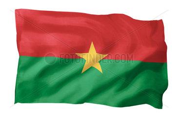Fahne von Burkina Faso (Motiv A; mit natuerlichem Faltenwurf und realistischer Stoffstruktur)