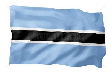 Fahne von Botswana (Motiv A; mit natuerlichem Faltenwurf und realistischer Stoffstruktur)