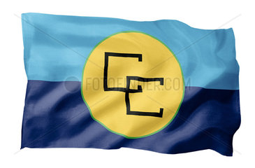 Fahne der CARICOM (Motiv A; mit natuerlichem Faltenwurf und realistischer Stoffstruktur)