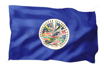 Fahne der Organisation Amerikanischer Staaten OAS (Motiv A; mit natuerlichem Faltenwurf und realistischer Stoffstruktur)