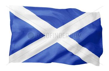 Fahne von Schottland (Motiv A; mit natuerlichem Faltenwurf und realistischer Stoffstruktur)