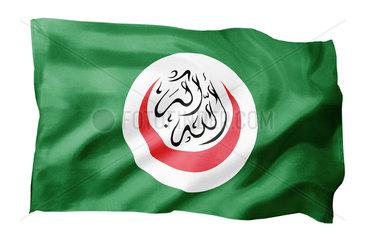 Fahne der Organisation der Islamischen Konferenz OIC (Motiv A; mit natuerlichem Faltenwurf und realistischer Stoffstruktur)