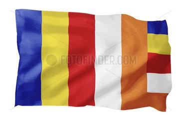 Internationale Buddhistische Flagge (Motiv A; mit natuerlichem Faltenwurf und realistischer Stoffstruktur)
