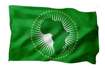 Fahne der Afrikanischen Union AU (Motiv A; mit natuerlichem Faltenwurf und realistischer Stoffstruktur)