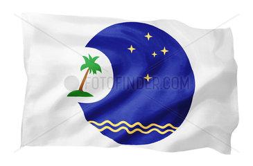 Fahne des Pacific Islands Forum (Motiv A; mit natuerlichem Faltenwurf und realistischer Stoffstruktur)