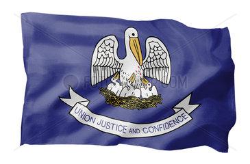 Landesfahne von Louisiana USA (Motiv A; mit natuerlichem Faltenwurf und realistischer Stoffstruktur)