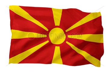 Fahne von Mazedonien (Motiv A; mit natuerlichem Faltenwurf und realistischer Stoffstruktur)