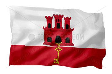 Landesfahne Gibraltar (Motiv A; mit natuerlichem Faltenwurf und realistischer Stoffstruktur)