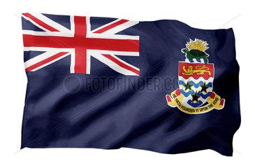 Landesfahne der Caymaninseln (Motiv A; mit natuerlichem Faltenwurf und realistischer Stoffstruktur)