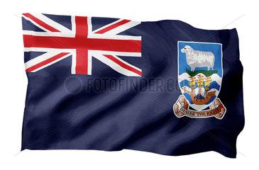 Landesfahne der Falklands (Motiv A; mit natuerlichem Faltenwurf und realistischer Stoffstruktur)