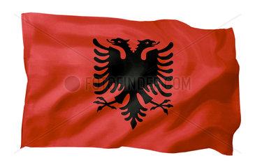Fahne von Albanien (Motiv A; mit natuerlichem Faltenwurf und realistischer Stoffstruktur)