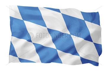 Landesfahne von Bayern mit Rauten (Motiv A; mit natuerlichem Faltenwurf und realistischer Stoffstruktur)
