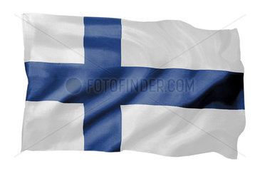 Fahne von Finnland (Motiv A; mit natuerlichem Faltenwurf und realistischer Stoffstruktur)