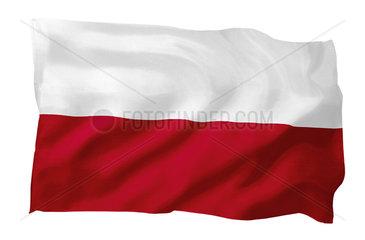Fahne von Polen (Motiv A; mit natuerlichem Faltenwurf und realistischer Stoffstruktur)