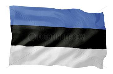 Fahne von Estland (Motiv A; mit natuerlichem Faltenwurf und realistischer Stoffstruktur)