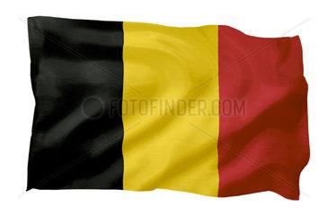 Fahne von Belgien (Motiv A; mit natuerlichem Faltenwurf und realistischer Stoffstruktur)