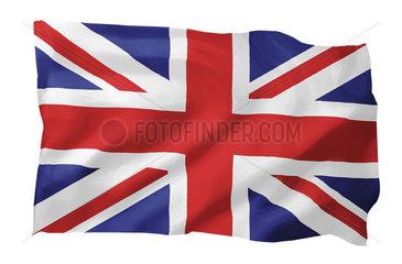 Fahne von Grossbritannien (Motiv A; mit natuerlichem Faltenwurf und realistischer Stoffstruktur)