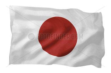 Fahne von Japan (Motiv A; mit natuerlichem Faltenwurf und realistischer Stoffstruktur)