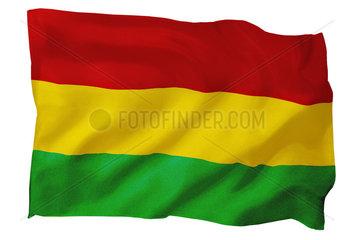 Fahne von Bolivien (Motiv B; mit natuerlichem Faltenwurf und realistischer Stoffstruktur)