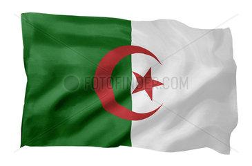 Fahne von Algerien (Motiv A; mit natuerlichem Faltenwurf und realistischer Stoffstruktur)