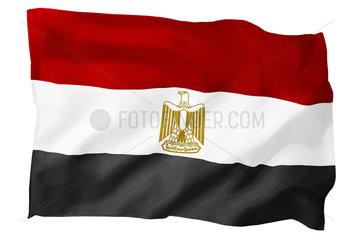 Fahne von Aegypten (Motiv B; mit natuerlichem Faltenwurf und realistischer Stoffstruktur)