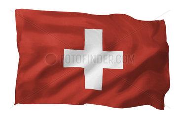 Fahne der Schweiz (Motiv A; mit natuerlichem Faltenwurf und realistischer Stoffstruktur)