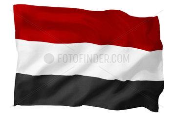 Fahne von Jemen (Motiv B; mit natuerlichem Faltenwurf und realistischer Stoffstruktur)
