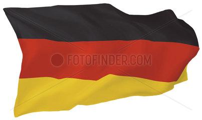 Fahne von Deutschland (Motiv B; mit natuerlichem Faltenwurf und realistischer Stoffstruktur)