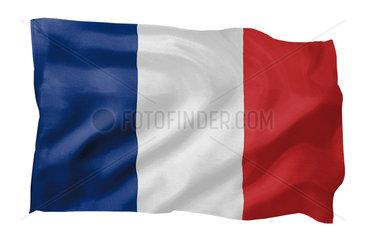 Fahne von Frankreich (Motiv A; mit natuerlichem Faltenwurf und realistischer Stoffstruktur)