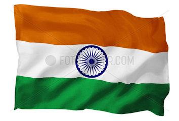 Fahne von Indien (Motiv B; mit natuerlichem Faltenwurf und realistischer Stoffstruktur)