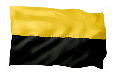 Landesfahne von Sachsen-Anhalt (Motiv A; mit natuerlichem Faltenwurf und realistischer Stoffstruktur)